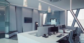 装修公司将简约典型设计语言融入办公环境中